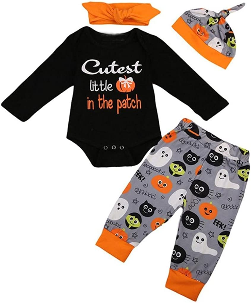0-24 Months Baby Halloween Romper Tops Pants Headbands Hat Four Piece Infant Baby Girls Boys Halloween Long Sleeve Print Letter Romper Pants Headbands Hat Outfits