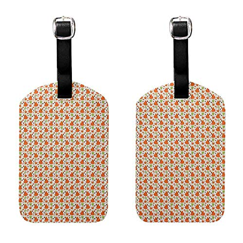 Women's Luggage Tag Fox,Forest Fauna and Flora with Cute Foxes Leaf and Mushrooms Nature Pattern, Brown Orange Apple Green Luggage Tags - 2 Pack