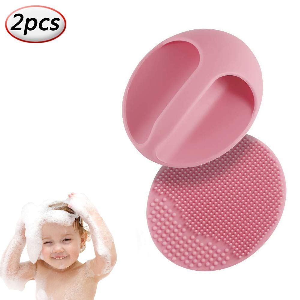 Cradle Cap Bath Brush and Comb Baby Shower Brushes Set, Facial Cleansing Brush for Blackhead Remover, Silicone Scalp Massaging Brush (Red) NuuMo