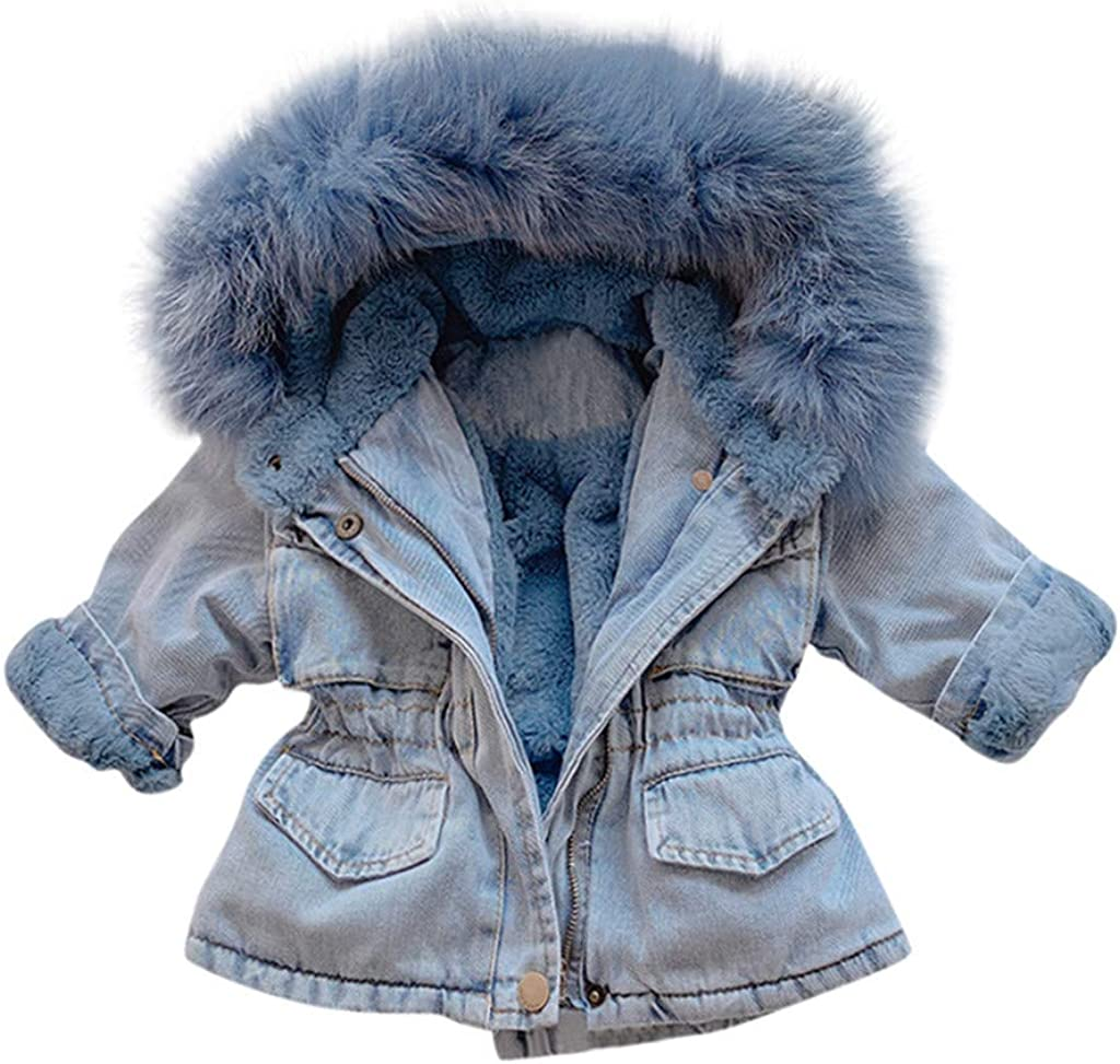 Kids Girls Winter Fur Collar Hooded Denim Jacket Coat Fur Lining Outwear Parka