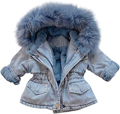 Infant Baby Toddler Girl Boy Winter Fashion Thick Sherpa Lined Denim Jacket Warm Jean Coat Outwear