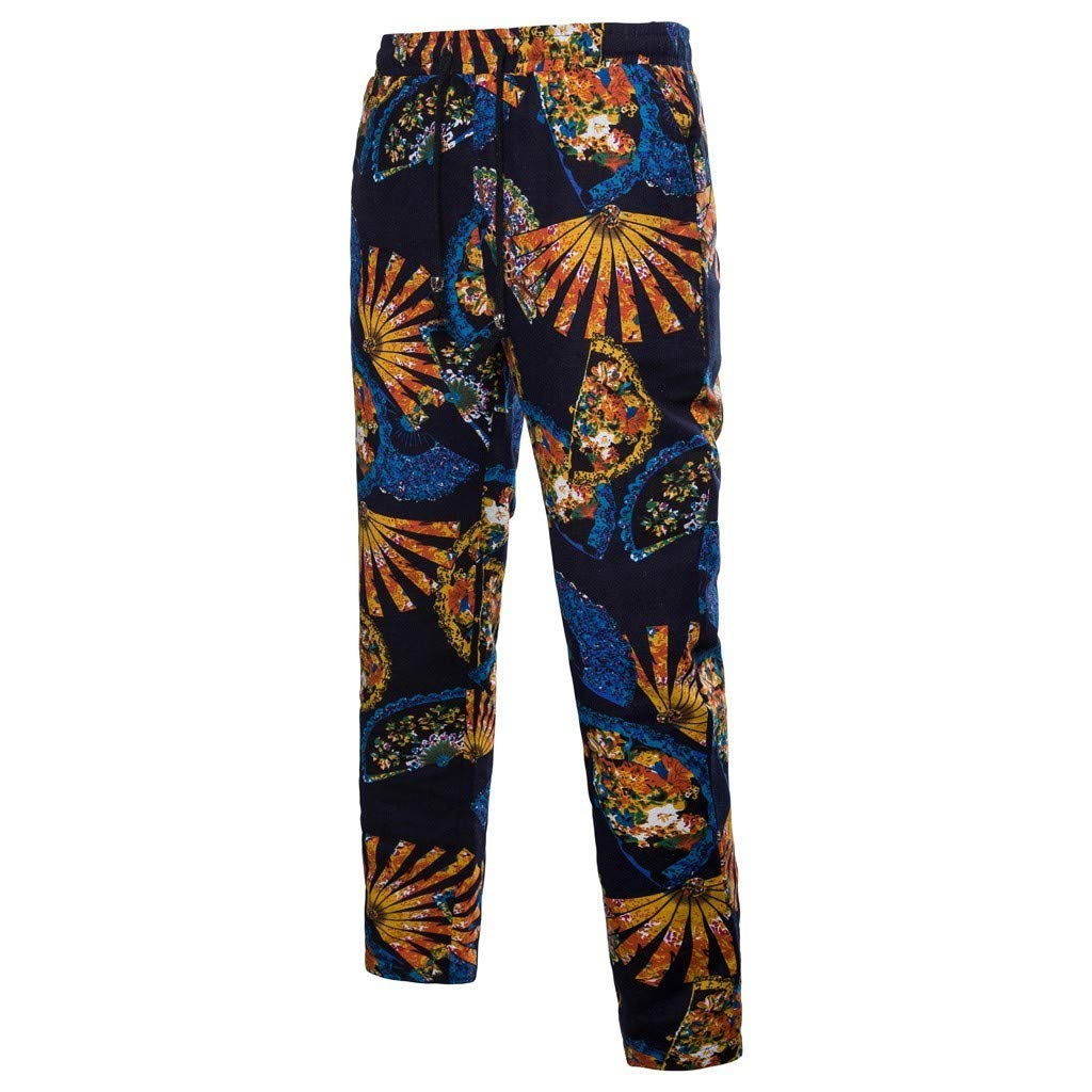Sunmoot Clearance Sale Floral Print Capri Pants Cotton-Linen Ethnic Patchwork Harem Pant Drawstring Baggy Comfy Trousers Orange