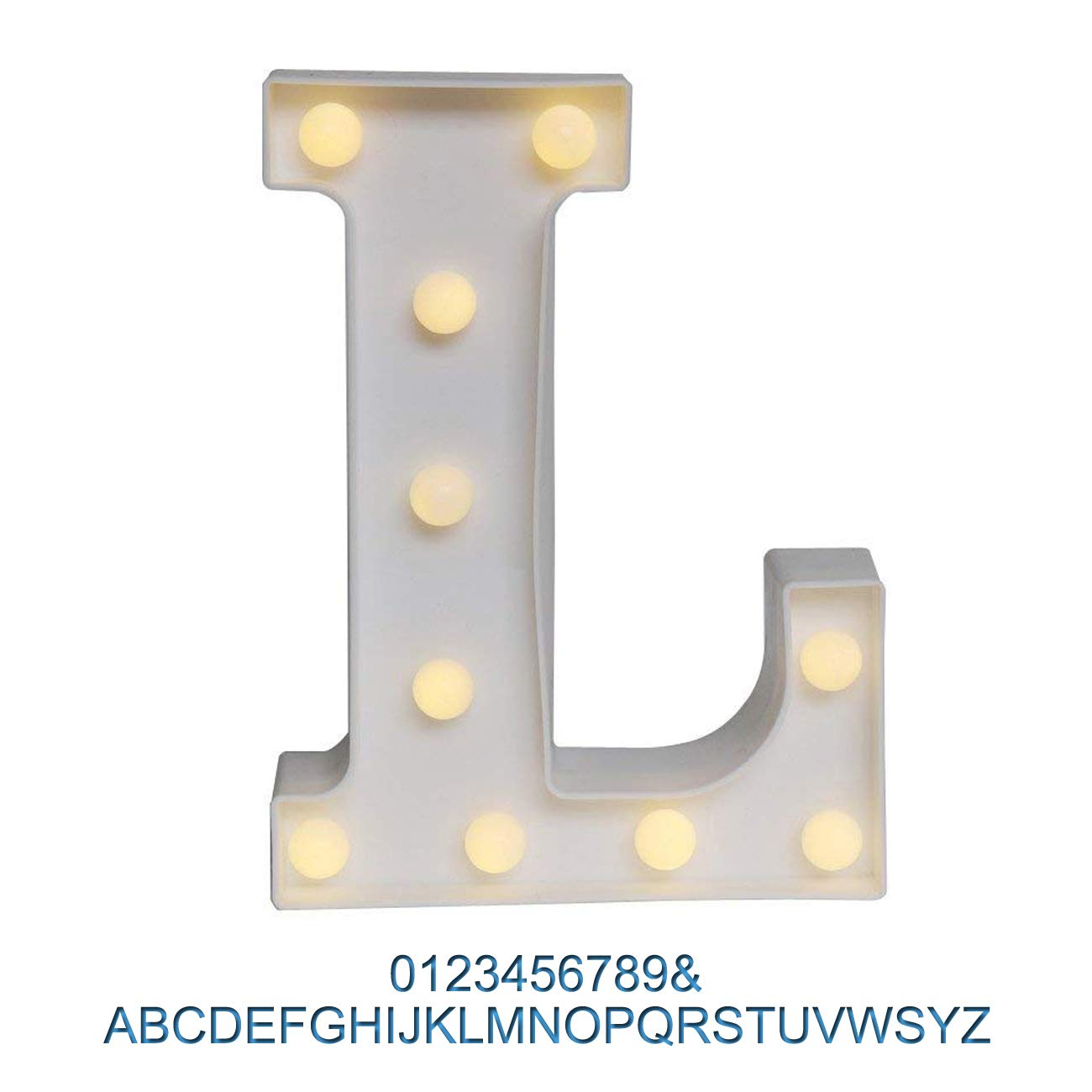 Ogrmar Decorative Led Light Up Number Letters, White Plastic Marquee Number Lights Sign Party Wedding Decor Battery Operated (L)