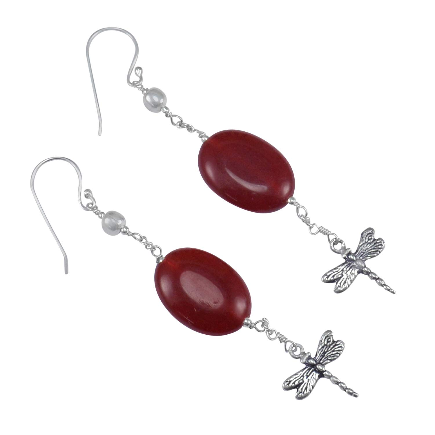 Earring WithButterfly Charm Jaipur Rajasthan India Handmade Jewelry Manufacturer Handmade Red Onyx 925 Sterling Silver