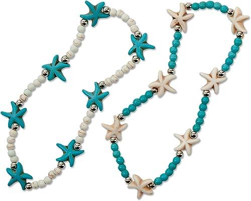 SPUNKYsoul Turtle Starfish Howlite Bracelet or Anklet Set Beach Collection