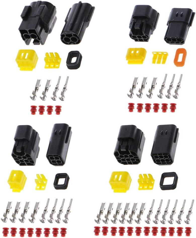 NIANNIAN Lot de 5 connecteurs /électriques /étanches pour voiture marine 2//3//4//6 broches