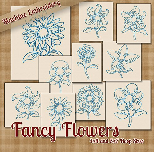 Fancy Flowers Redwork Floral Embroidery Machine Designs on CD - Multiformat (Flowers Machine Embroidery Designs)