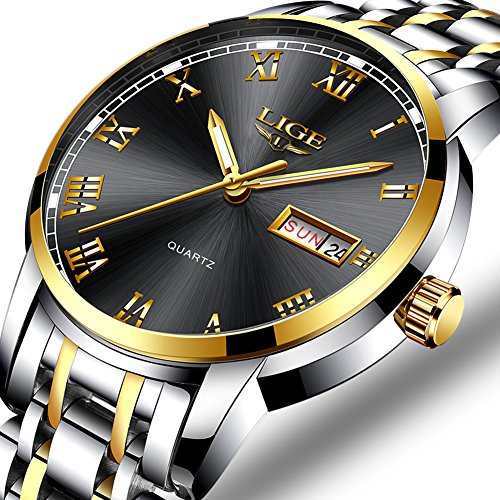 Mens stainless steel watches fashion simple quartz watch men luxury brand LIGE waterproof business dress wristwatch