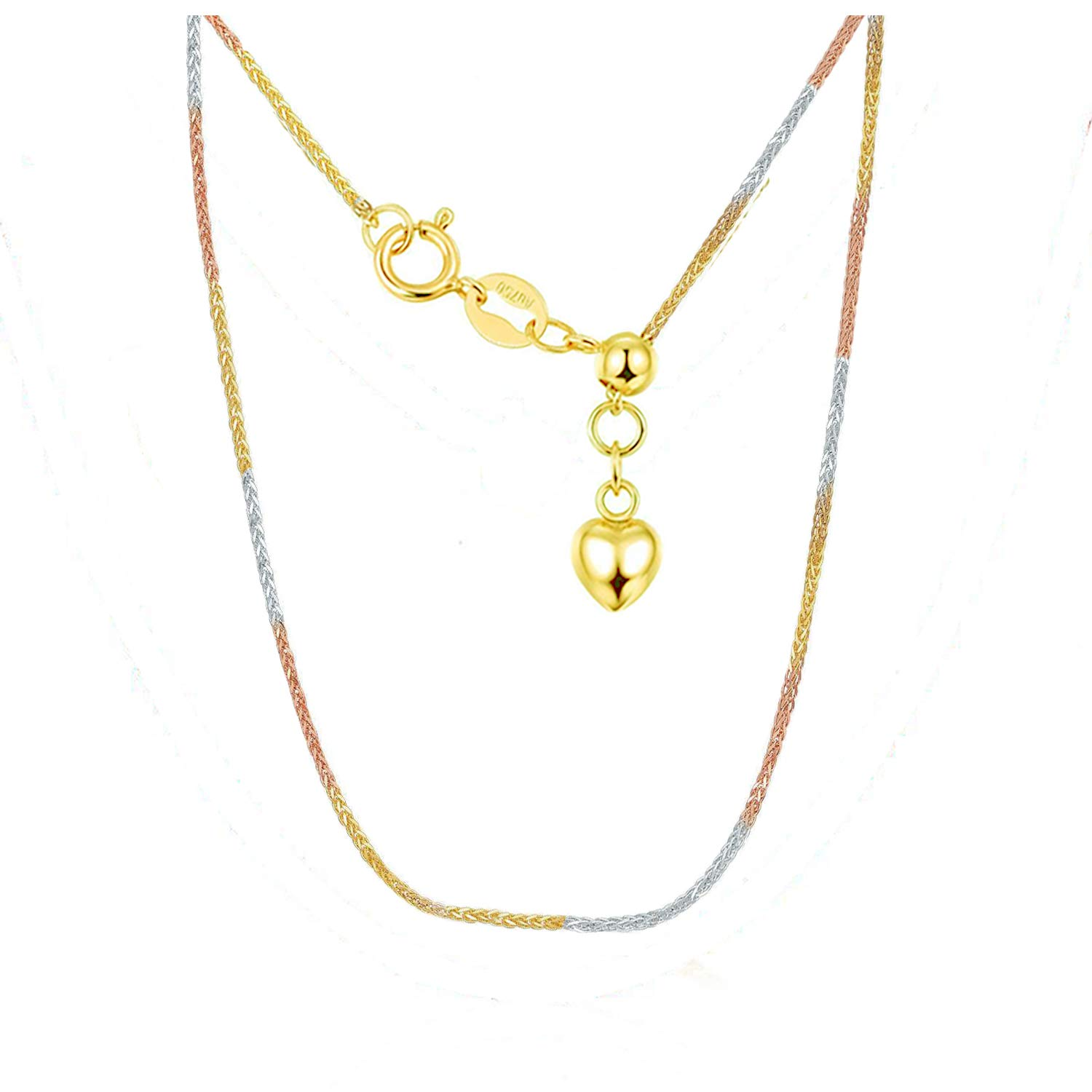 Sinya Pull Type Adjustable Foxtail Chain Yellow White Rose 3 Tone 18K Gold with 3D Heart Tag 18inch 0.85mm (White Gold Rose Gold White 3 Tone)