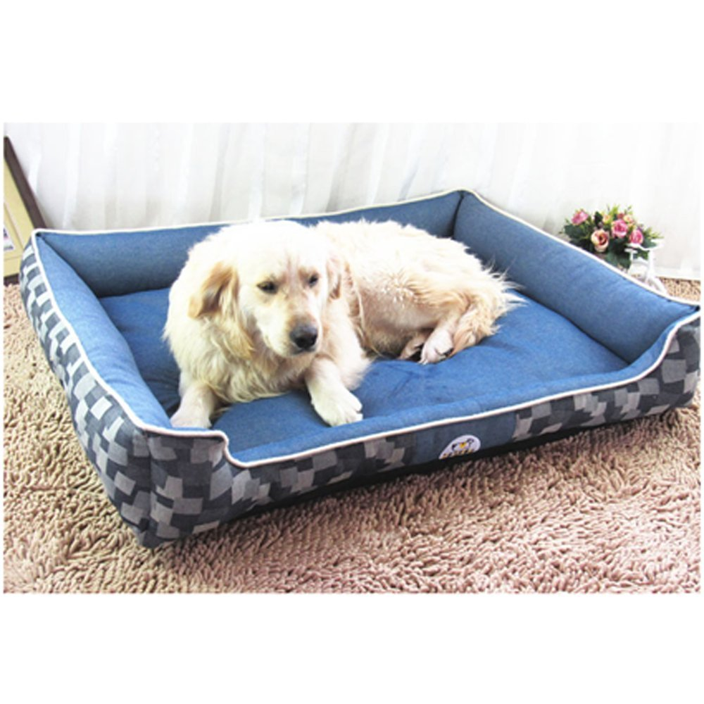 M SZGP Denim Pet Bed Mats waterproof Pet Bed easy to clean the mattress (M)