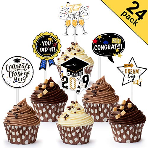 Chuangdi 2019 Graduation Cupcake Toppers 6 Types Cake Decoration 2019 Cap Graduation Picks for Graduation Party Decor Favors Supplies Graduation Cake Toppers (24 Pieces)