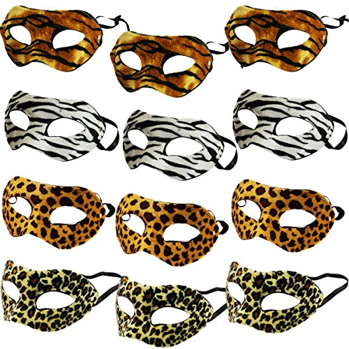 [A Dozen Assorted Animal Print Mask - Set Of Dozen Assorted Animal Print Masks] (Back To School Theme Party Costumes)