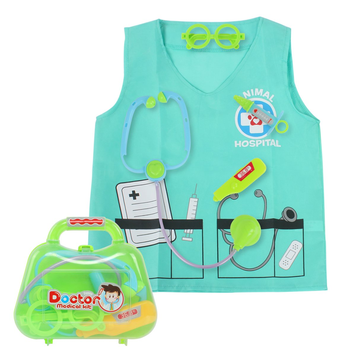 Sinuo Doctor Dress Up Set, Kids Veterinarian Costumes with Accessories Role Play Toy Medical Set Fit Age from 3-7 (Green) by Sinuo