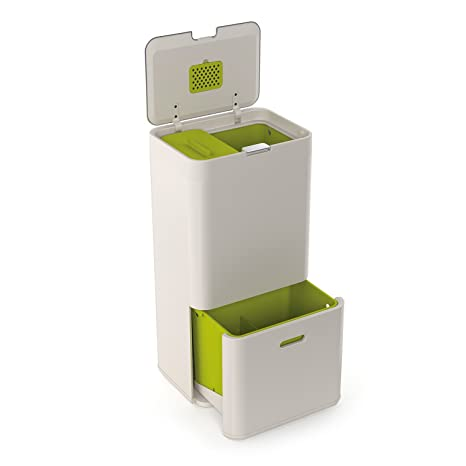 Joseph Joseph Totem 60 L - Cubo de basura, separación y reciclaje color Blanco Piedra (Stone)
