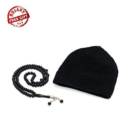 2ce99975387 Image Unavailable. Image not available for. Color  (Free Gift) Elegant Muslim  Islamic Kufi Cap and Rosary (Black) Prayer Hat