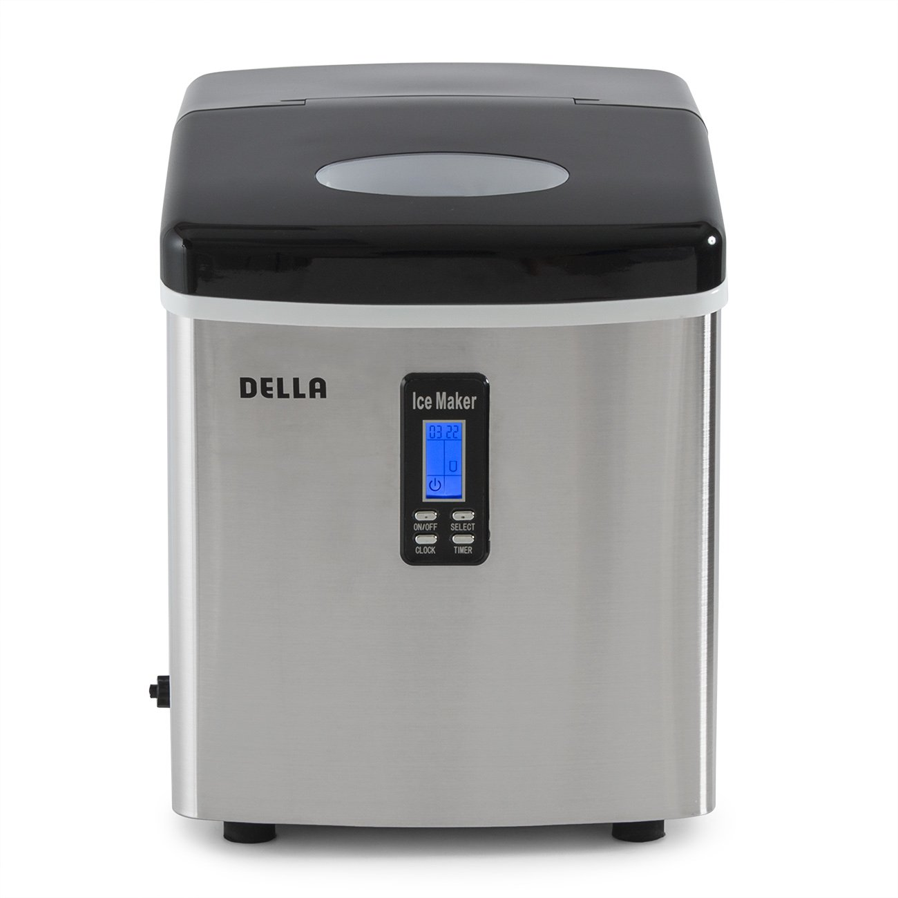 Black DELLA Portable Electric Ice Maker High Capacity Easy-Touch Button Up to 26 lbs per day 2 Selectable Cube Sizes