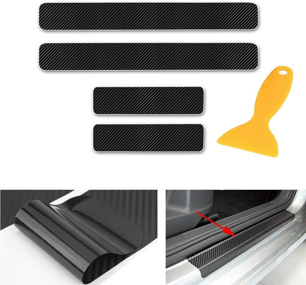 changlaiwang Can be Customized for Toyota Prado Carbon Fiber Door Sill Protector Anti-Kick Scratch Welcome Pedals Guards Threshold Sticker with Word Sports Red 4Pcs