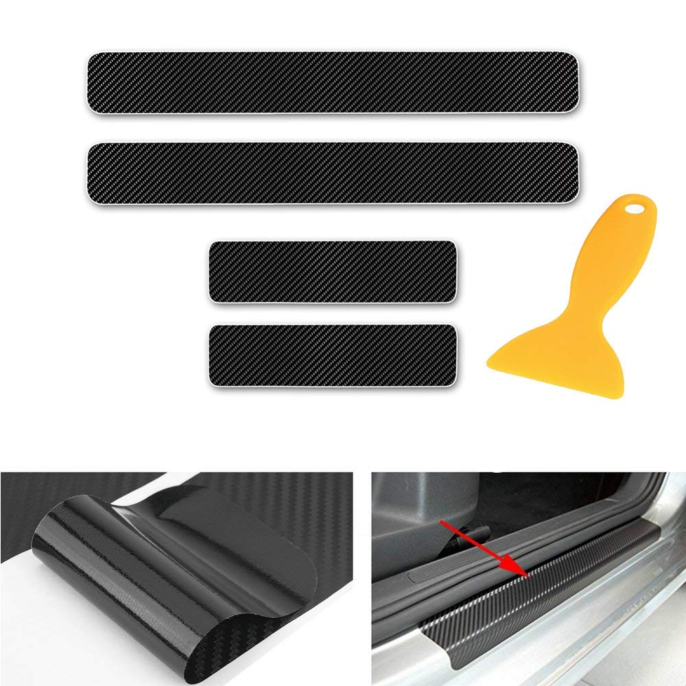 Tuqiang Car Decoration Door Sill Scuff Plate Door Sill Protectors 4D Carbon Fiber Sticker 4Pcs for CT 200H//GS 300//GS