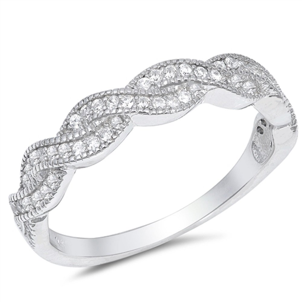 CloseoutWarehouse Clear Cubic Zirconia Braided Band Ring Sterling Silver Size 9