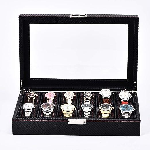 Cajas de joyería DJSSH Caja de reloj de 12 ranuras Relojes de madera con cerradura de visualización Caja de almacenamiento con tapa de vidrio Negro reloj Organizador Collection, Negro, 33x21.5x8cm DJS: Amazon.es: