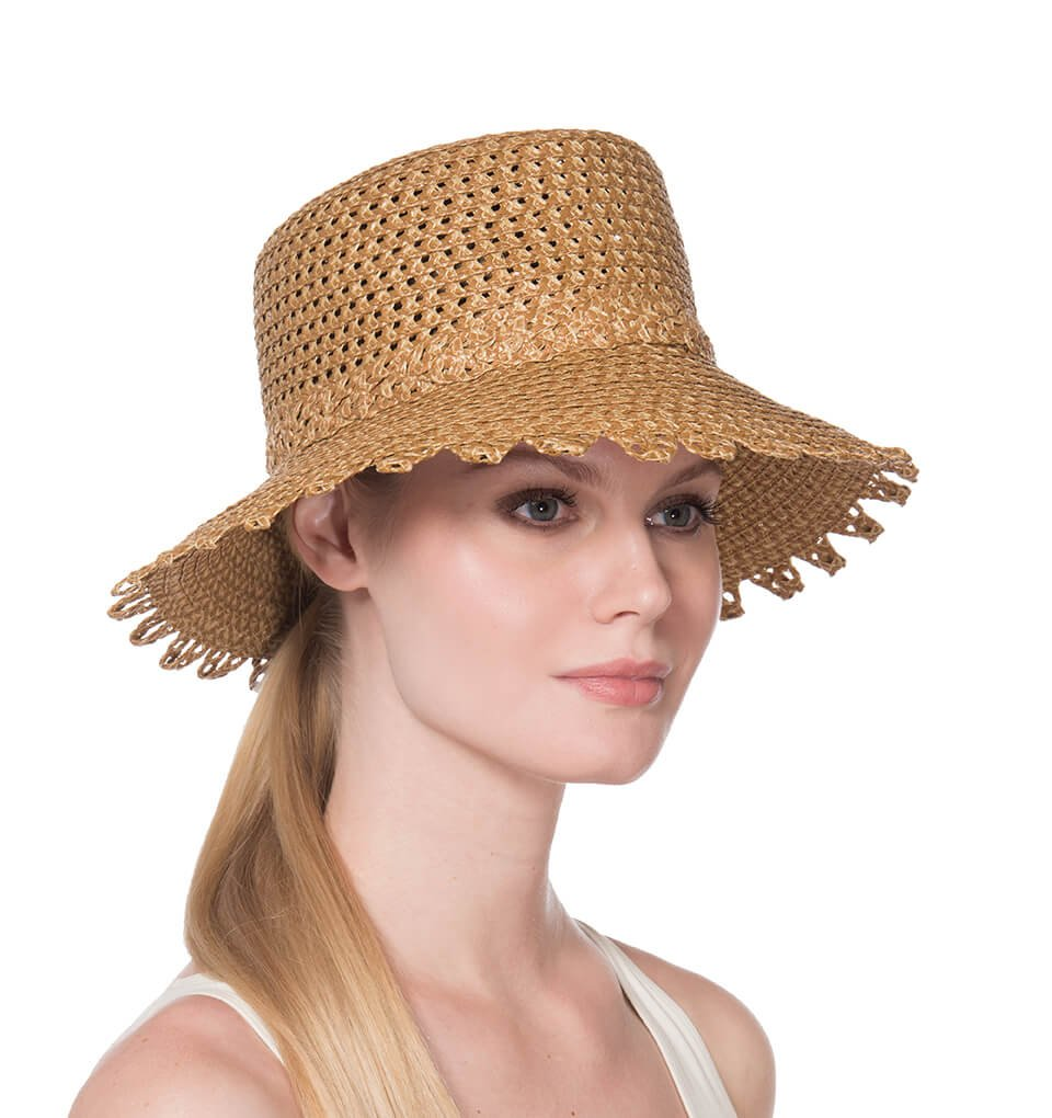 Eric Javits Fashion Designer Women's Headwear Hat - Ibiza (Natural) by Eric Javits