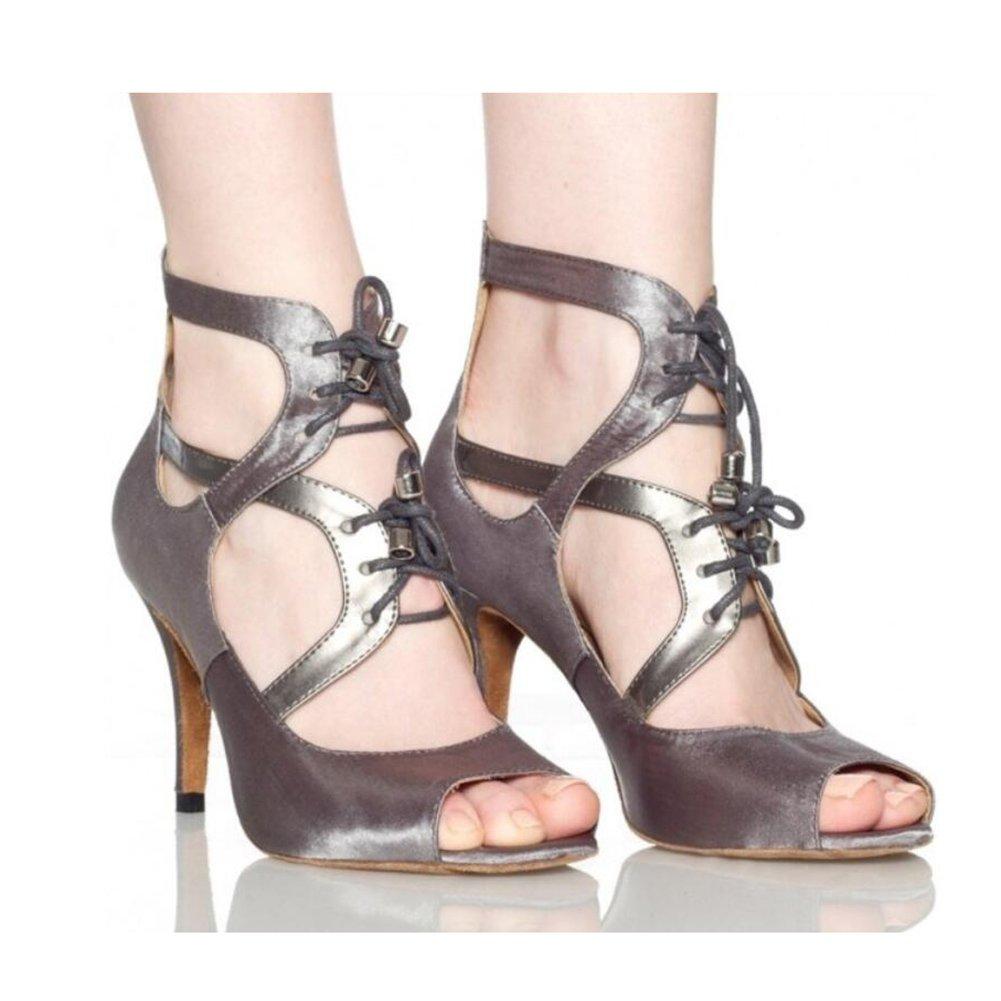 Onfly New Damen Latin Schuhe funkelnde Glitter Sandale Ballroom Schuhe/Fersen Performance/Professional Strass/Sekt Glitter Flared Heel Party Abend Classic Grau, attraktive Nude eu size  363|EIN