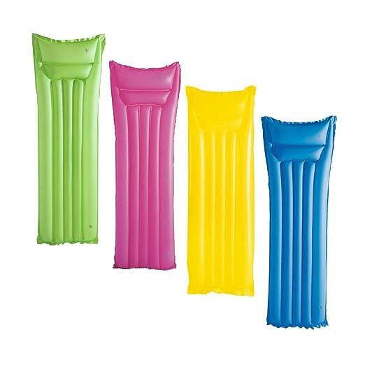Colchoneta Hinchable para Piscina Rosa Amarillo Verde o Azul Mate ...