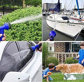 50FT//15M, Bleu Marbeine Tuyau dArrosage Flexible Tuyau dArrosage Extensible avec 7 Fonctions Pistolet Tuyau R/étractable pour Jardin