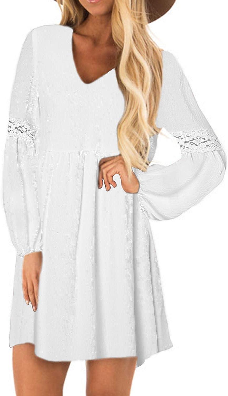 YOINS Sexy Kleid Damen Sommerkleid für Damen Babydoll Kleider Brautkleid Tshirt Kleid Rundhals Langarm Minikleid Langes Shirt Lose Tunika Strandkleid: Amazon.de: Bekleidung - Tunika weiss