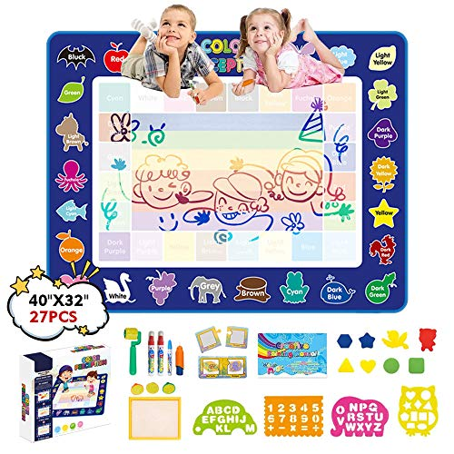 "JANTODEC Aqua Water Drawing Mat 47"" x 31"" Magic Doodle Mat Kids Toys Mess Free Painting Writing Doodle Board Coloring Educational Toys Gifts for 3,4,5,6 Year Old Toddler Boy Girls"