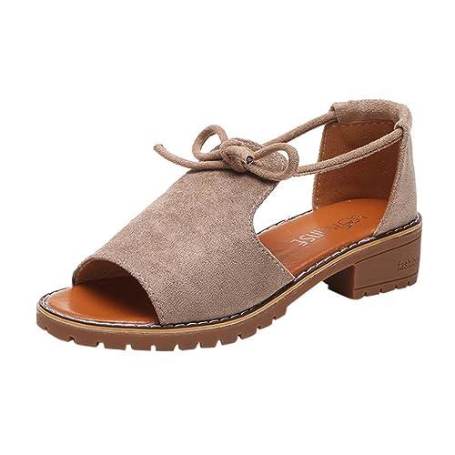 ASHOP Sandalias Mujer Bohemia Las Bailarinas Planas Zapatos de Cordones Verano Alpargatas de Cuña con Cordones Moda Zapatillas De Playa Sandalias y Chanclas ...