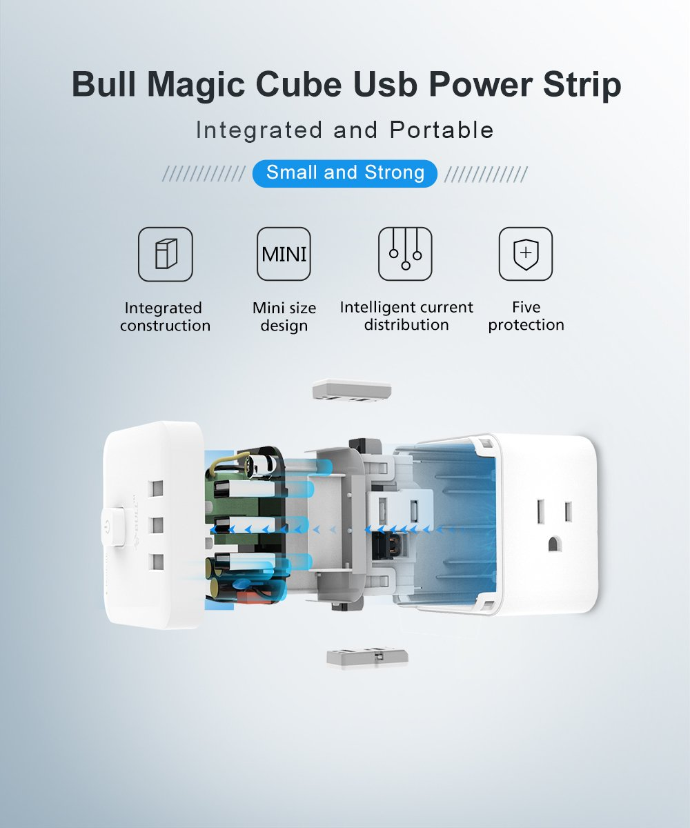 1875W Cordless Wall Tap for Nightstand /& Desktop Cube Spacing Charging Station with Switch Control Smart Power Strip Surge Protector with 3 USB Ports and 3 AC Outlets