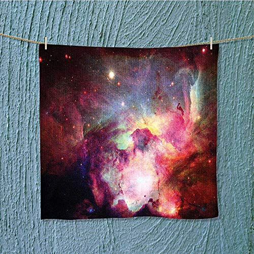 towel bar Magical Gas Cloud Nebula in with Light Solar Zone Print Red Multipurpose Quick Drying W19.7 x W19.7 INCH by SeptSonne