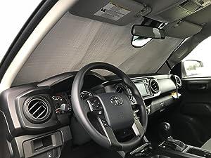 HeatShield, The Original Windshield Sun Shade, Custom-Fit for Toyota Tacoma Truck (Crew Cab) 2018, 2019, 2020, Silver Series