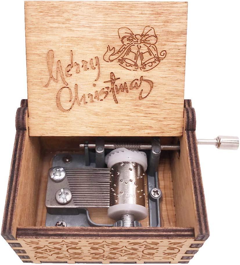 Cadeaux Blue Bois Dense No/ël Bo/îte /à Musique /à manivelle Bo/îte /à Musique Bois sculpt/é Musicale Bleu Play WE Wish You a Merry Christmas
