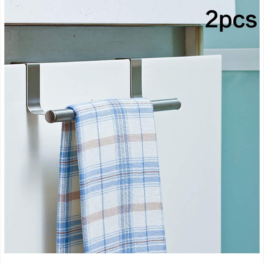 Xelparuc 2Pcs 9'' thick Stainless Steel Towel Bar Holder Over the Kitchen Cabinet Cupboard door organizer Hanging hanger Rack Storage Holders Accessories