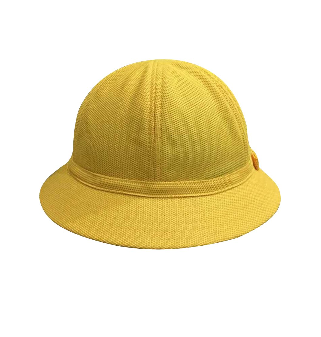 ACVIP Unisex Little Boy Girl Solid Breathable Sun Protection Bucket Hat (Yellow)