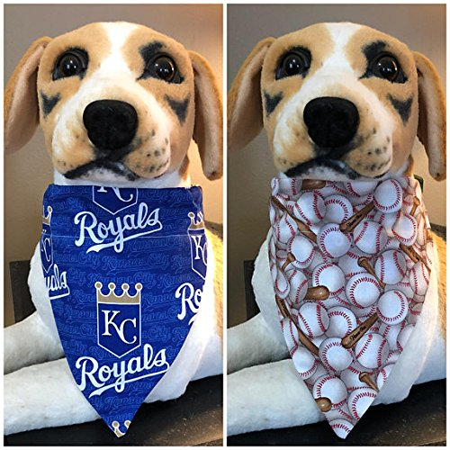 MLB Reversible Pet Bandana Royal Blue Kansas City Royals KC Baseball Over The Collar Scarf 2 in 1 dog cat (Diamond Baseball Over)