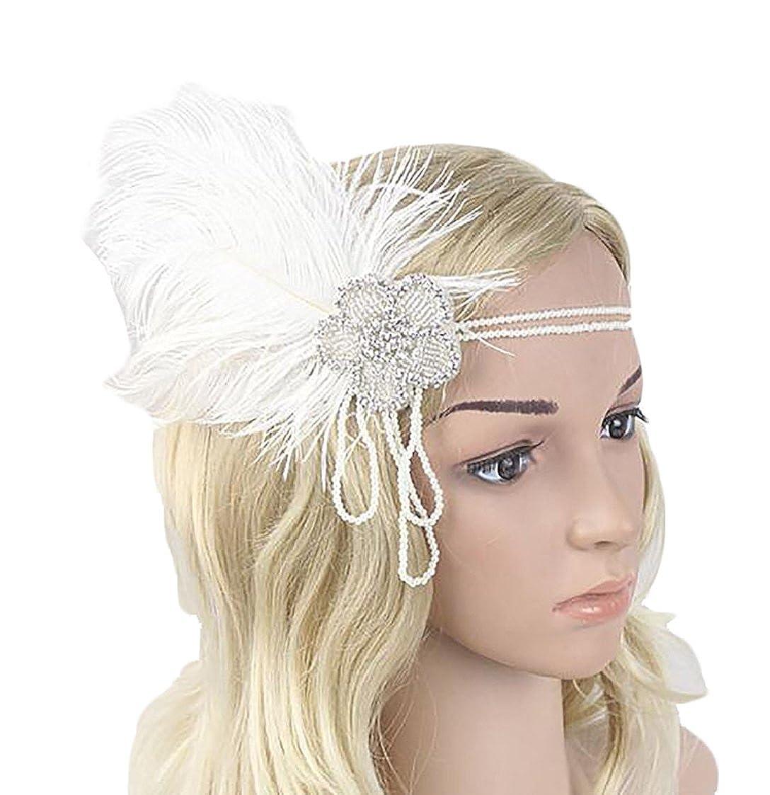 Yayu Womens Fashion Beaded Flapper Headband 1920s Feather Headpiece White  OS at Amazon Women s Clothing store  e9926d15091