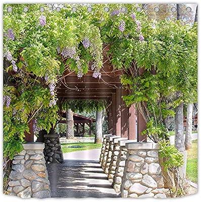 JYEJYRTEJ Spring Garden Vine Scenery Cortina de baño Lavable y de Secado rápido, impresión HD, 12 Ganchos, decoración de baño: Amazon.es: Hogar