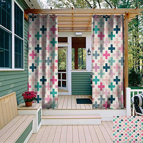 leinuoyi Teal and White, Outdoor Curtain Wall, Colorful Cross Shapes Dotted Design Hipster Feminine Girls Fun Art Graphic, Outdoor Patio Curtains W84 x L96 Inch Multicolor ()