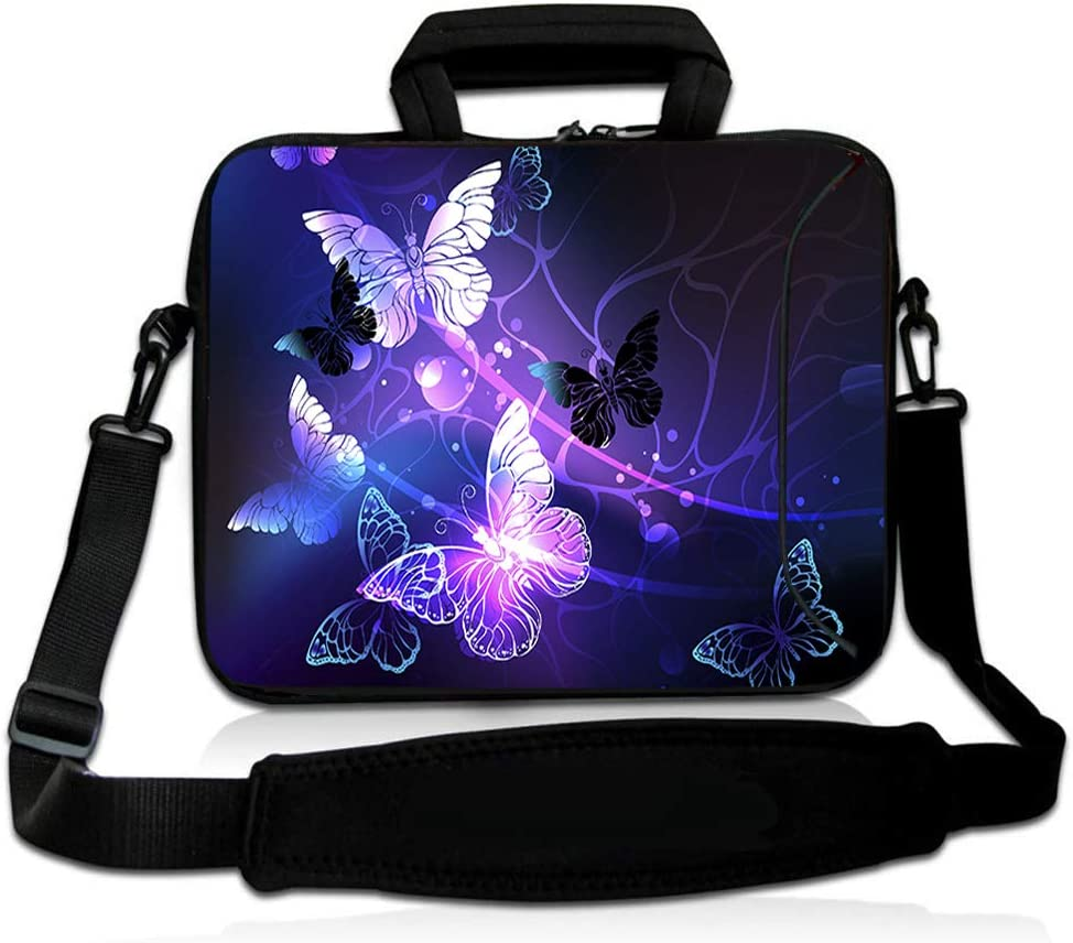 RICHEN 11 11.6 12 12.5 13 inches Case Laptop/Chromebook/Ultrabook/MacBook pro air Notebook PC Messenger Bag Tablet Travel Case Neoprene Handle Sleeve with Shoulder (11-13.3 inch, Butterflies)