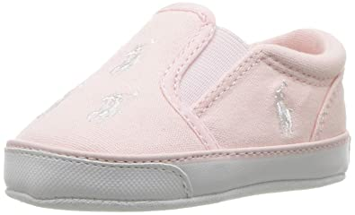 551d79f6ea8a1 Polo Ralph Lauren Kids Girls  Bal Harbour Repeat Crib Shoe Light Pink 0 M US