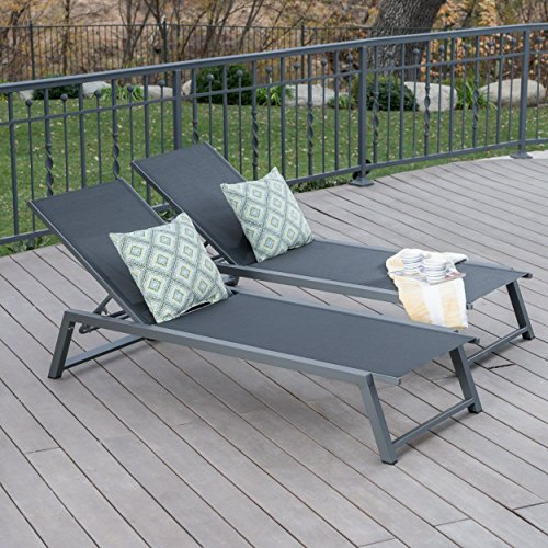 Great Deal Furniture Mesa Outdoor Black Mesh Chaise Lounge with Grey Finished Aluminum Frame (Set of 2) For Sale