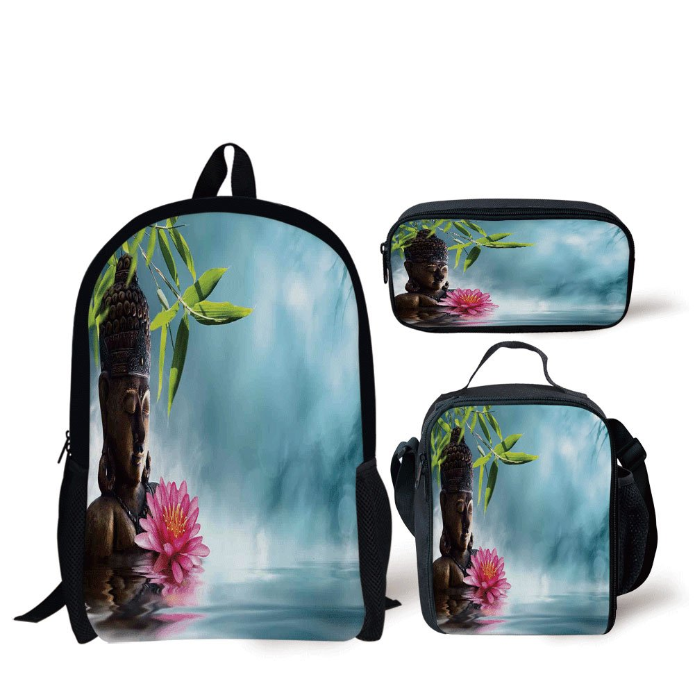 School Lunch Pen Bags,Zen Meditation Decor,Zen Waterlilly Flowers Spa Decor Nature Feng Shui Natural Calm Water Floral,Personalized Print