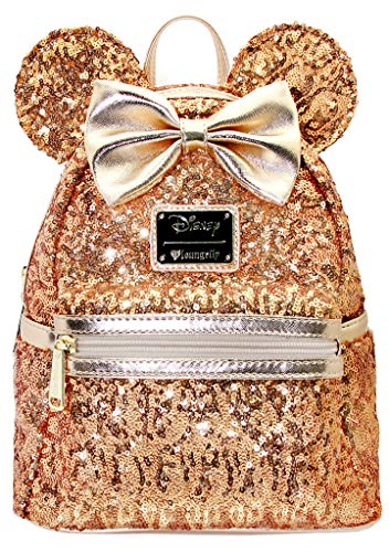 LOUNGEFLY X DISNEY Yellow Gold Sequin Minnie Mini Backpack