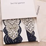 Yanstar Wedding Bridal Garter Belt Navy Stretch