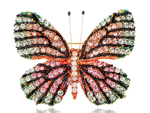 - Alilang Vintage Inspired Golden Tone Shine Pink Green Multicolor Rhinestones Empress Monarch Winged Butterfly Bug Brooch Pin