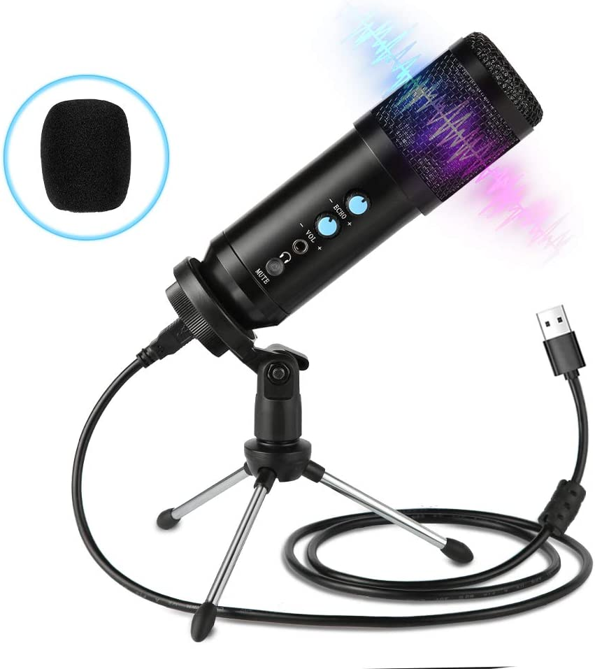 USB Microphone,Multipurpose Condenser Microphones for Computer,Laptop,Plug&Play Microphone with Desktop Stand for Gaming,Recording,Broadcasting,Meeting,Voice Overs and Streaming
