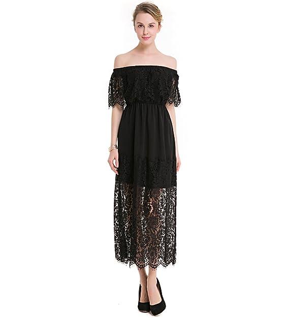 KAXIDY Vestido Largo Cóctel Clásico para Mujer Sin Tirantes Vestido Fiesta Vestidos de Noche (Small